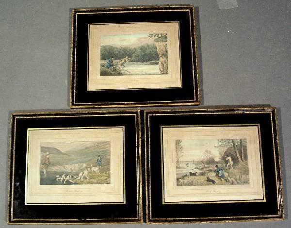 """254: Three sporting lithographs- """"Fishing"""", """"Duck Shoo"""