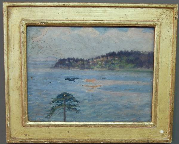 255: Oil on panel impressionist painting of a Maine coa
