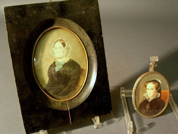 256: Miniature watercolor portrait of a seated woman,