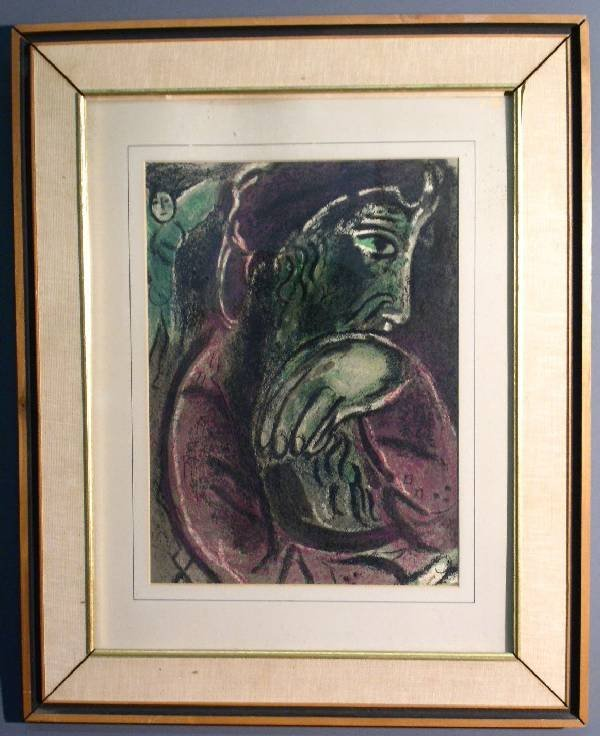 """257: Marc Chagal lithograph """"Job"""" from the """"Drawings f"""