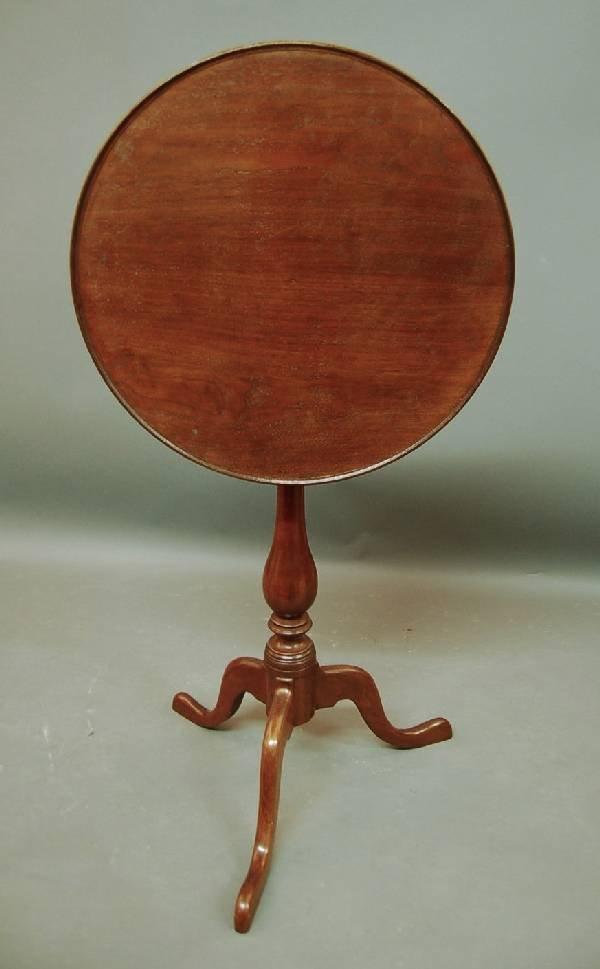 258:  Philadelphia Queen Anne walnut dish-top candlesta