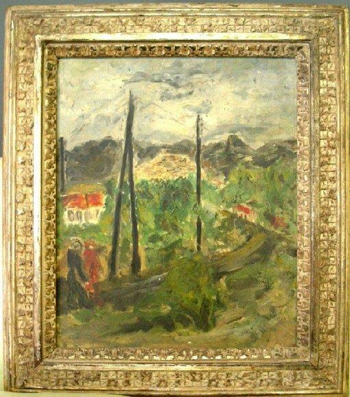 261: Oil on canvas impressionist landscape signed indis