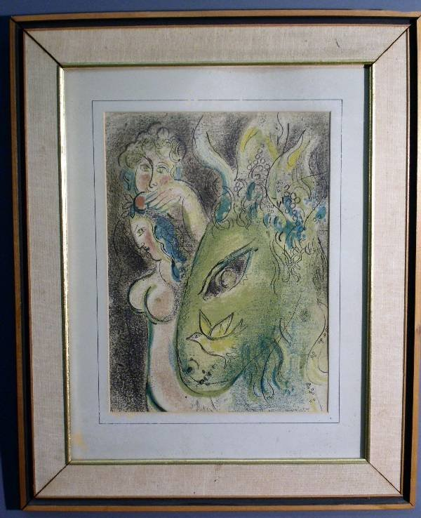 """264: Marc Chagal lithograph """"Adam & Eve Banished"""" from"""