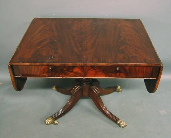 265: English Regency mahogany sofa table with brass pa