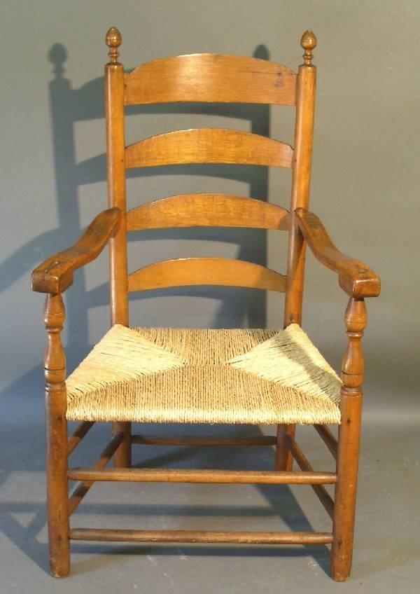 "266: Four-slat ladder-back armchair, c.1780. 44""h.x25."