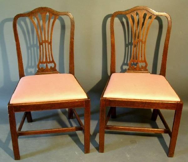 "270: Pair of English mahogany side chairs, c.1790. 36"""