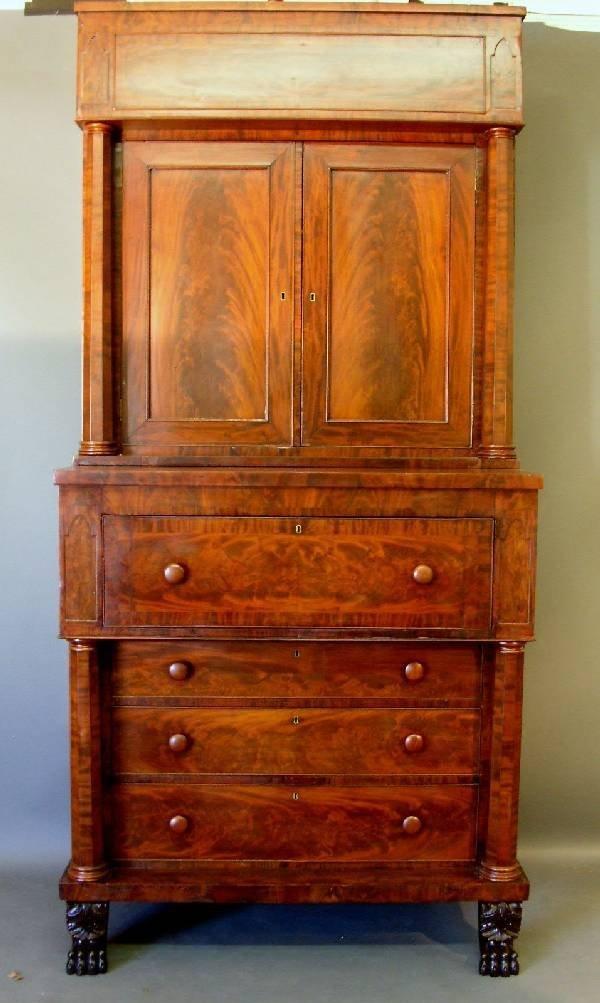 271: Fine Empire mahogany two-part butler's bookcase,