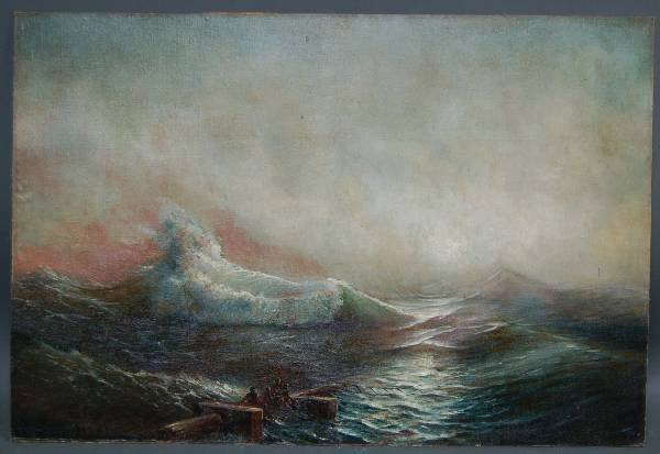 355: Oil on board seascape with sailors on floating wre