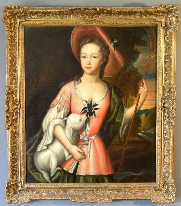 478: Oil on canvas portrait of a shepherdess with lamb