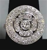 Circle Motif Platinum & Diamond Cocktail Ring