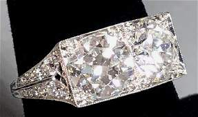 Platinum & Diamond Two Stone Cocktail Ring