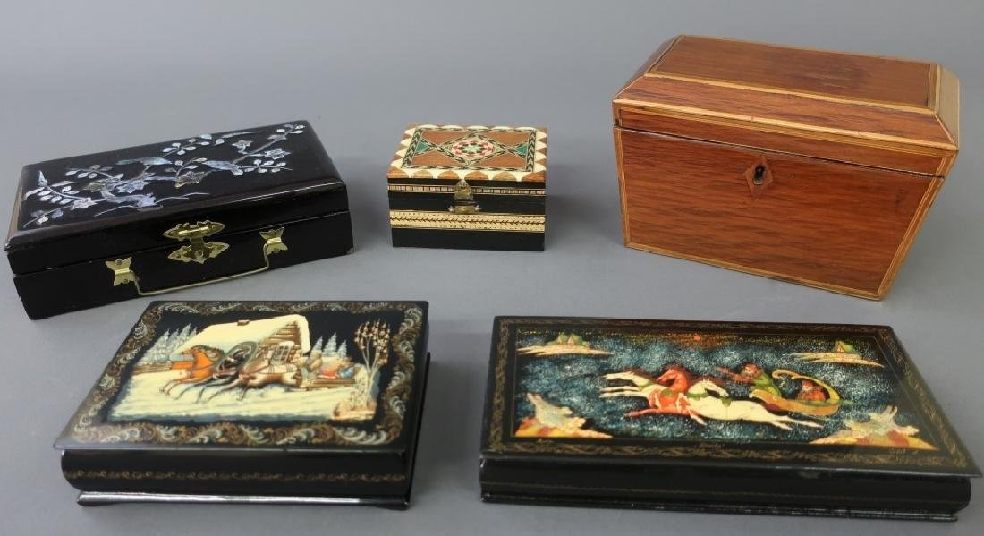 Grouping of Boxes Including Russian Lacquered