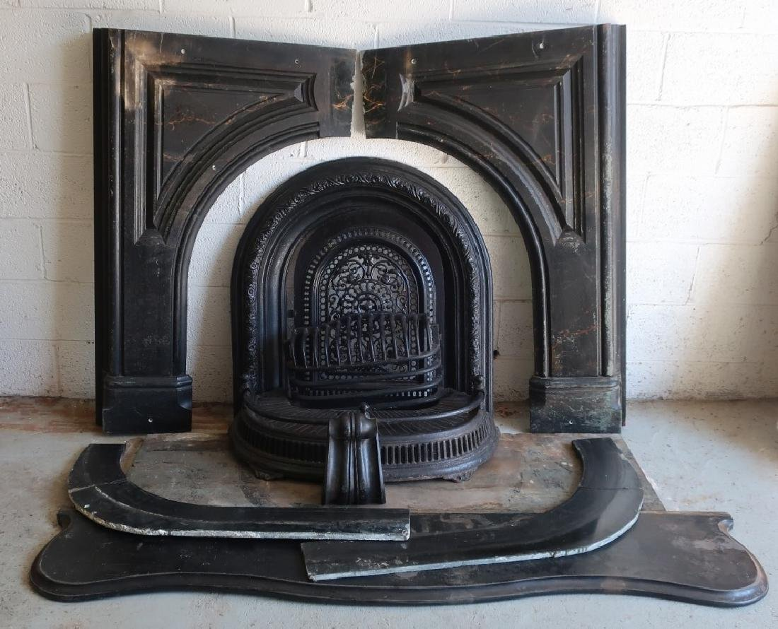 Victorian Slate And Cast Iron Fireplace