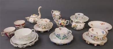 Meissen Cups, Saucers, & Tea Pot