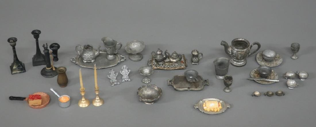 Dollhouse Pewter and Metal Miniature Tableware