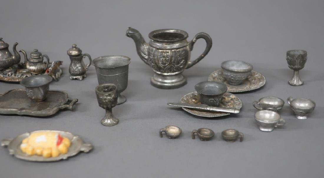 Dollhouse Pewter and Metal Miniature Tableware - 2