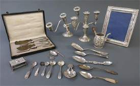Silver Grouping Including Knife and Fork Set