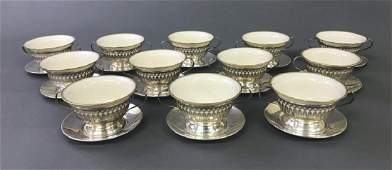 Set of Twelve Lenox and Sterling Silver Bouillons