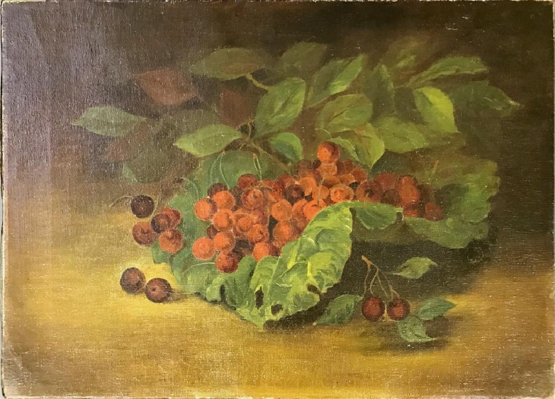 Oil on Canvas Still Life of Cherries