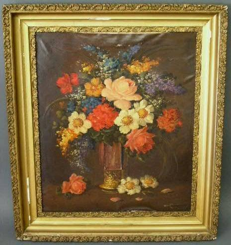 """9: Oil on canvas still life painting of flowers. 25""""x20"""