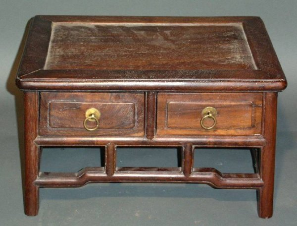 """11: Chinese teakwood small table with 2 drawers. 10""""h.x"""