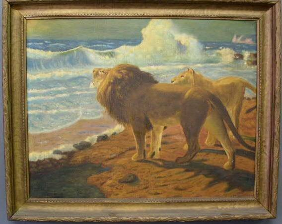 """32: Oil on canvas painting of lions signed verso """"L. Wh"""
