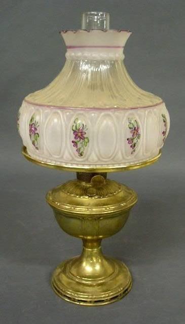 "36:  Aladdin No. 12 brass oil lamp. 12"" top of burner,"