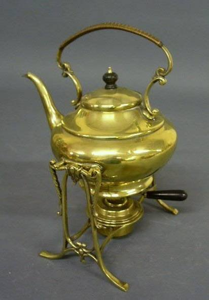 """37: Brass kettle-on-stand. 12""""h.x7.25""""w."""