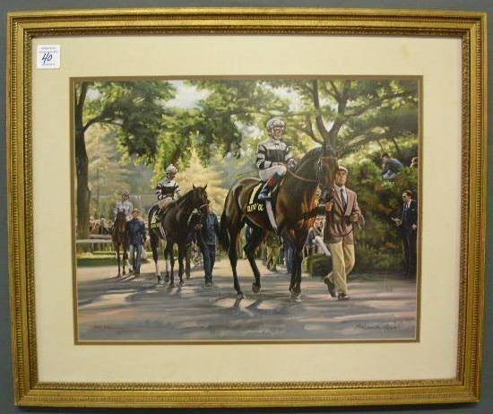 40: Framed print of racehorses by Anthony M. Alonso. 17