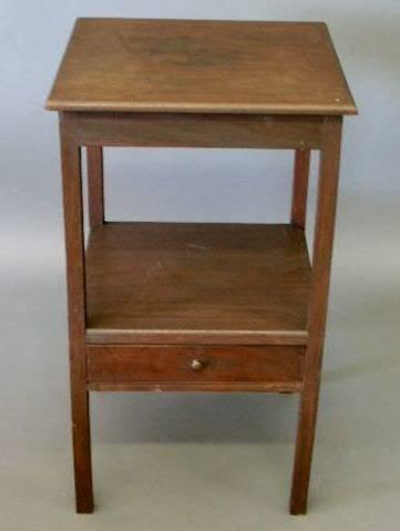 """41: Hepplewhite mahogany stand, one drawer. 26""""h., top"""