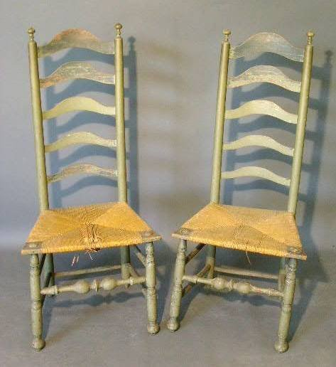 203:   Pair of Delaware Valley five-slat side chairs, c