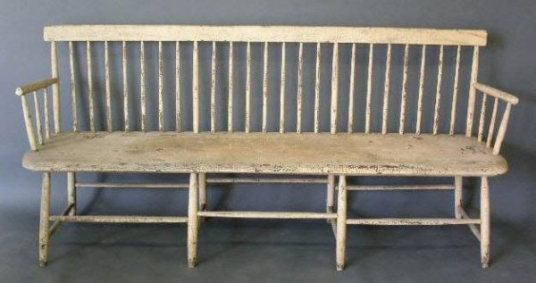"207:   Bamboo Windsor settee, c.1830. 36""h.x77""w.x19""d."