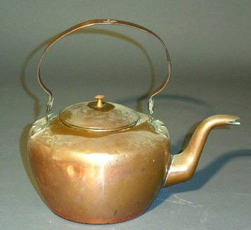 """240:  English copper kettle signed """"Harbeson"""". 11""""h. to"""
