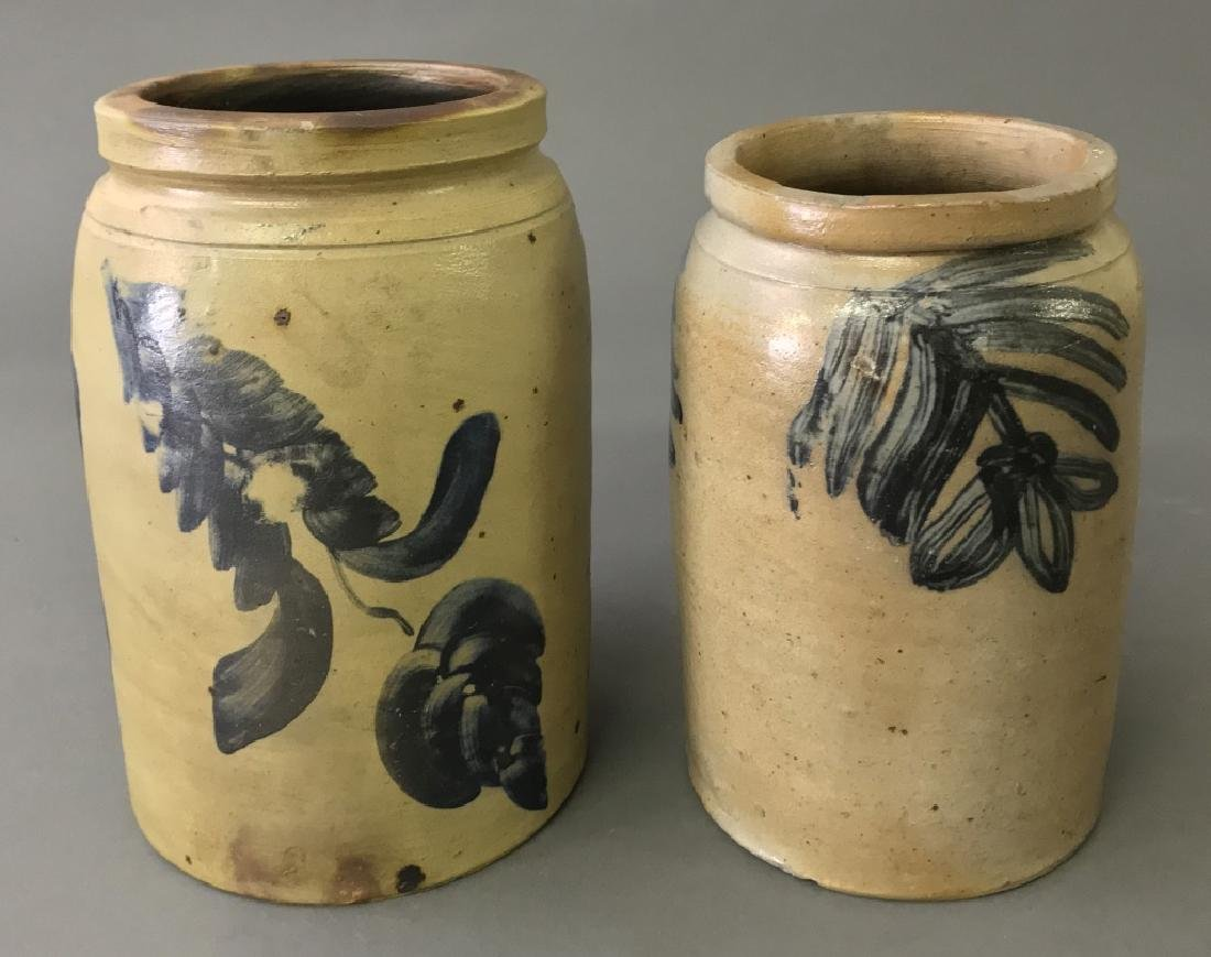 Two Blue Decorated Stoneware Jars