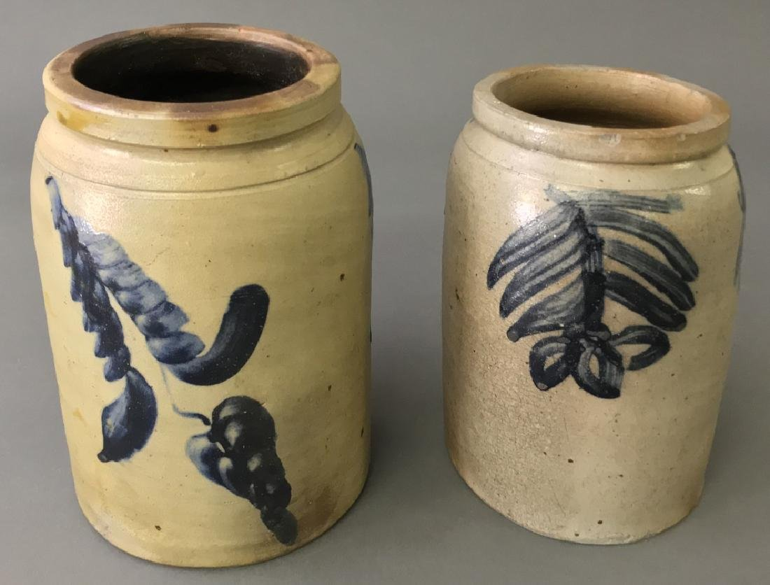 Two Blue Decorated Stoneware Jars - 2