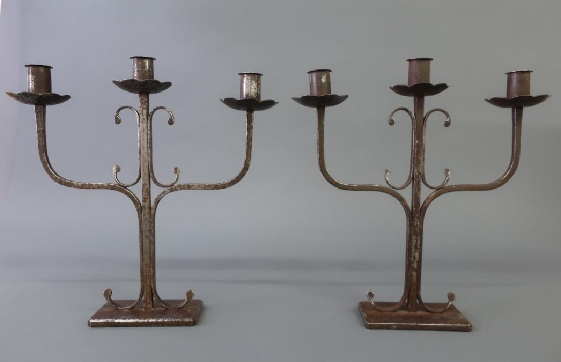 Pair of Wrought Iron Candelabra