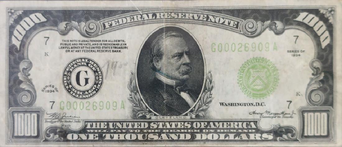 1934 Series One Thousand Dollar Bill