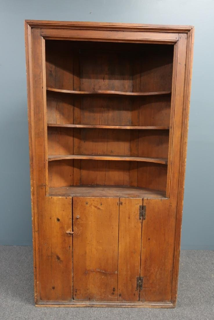 Primitive Connecticut Pine Corner Cupboard