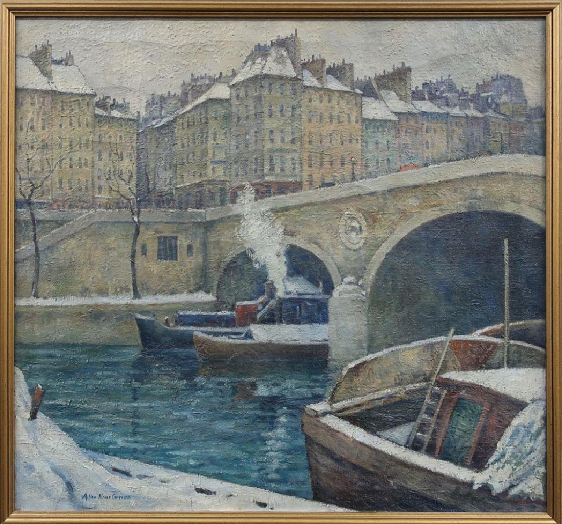 A.V. Greene Impressionist View of the Seine, Paris