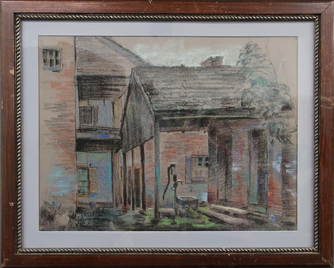 """Lois Rapp Pastel Painting """"Front Porch with Pump"""""""