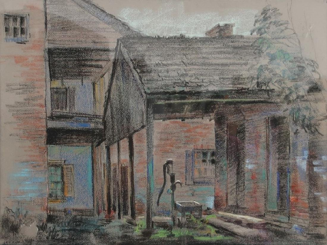 """Lois Rapp Pastel Painting """"Front Porch with Pump"""" - 2"""