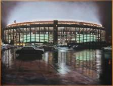 Fred Danziger Large Oil Painting Veteran's Stadium
