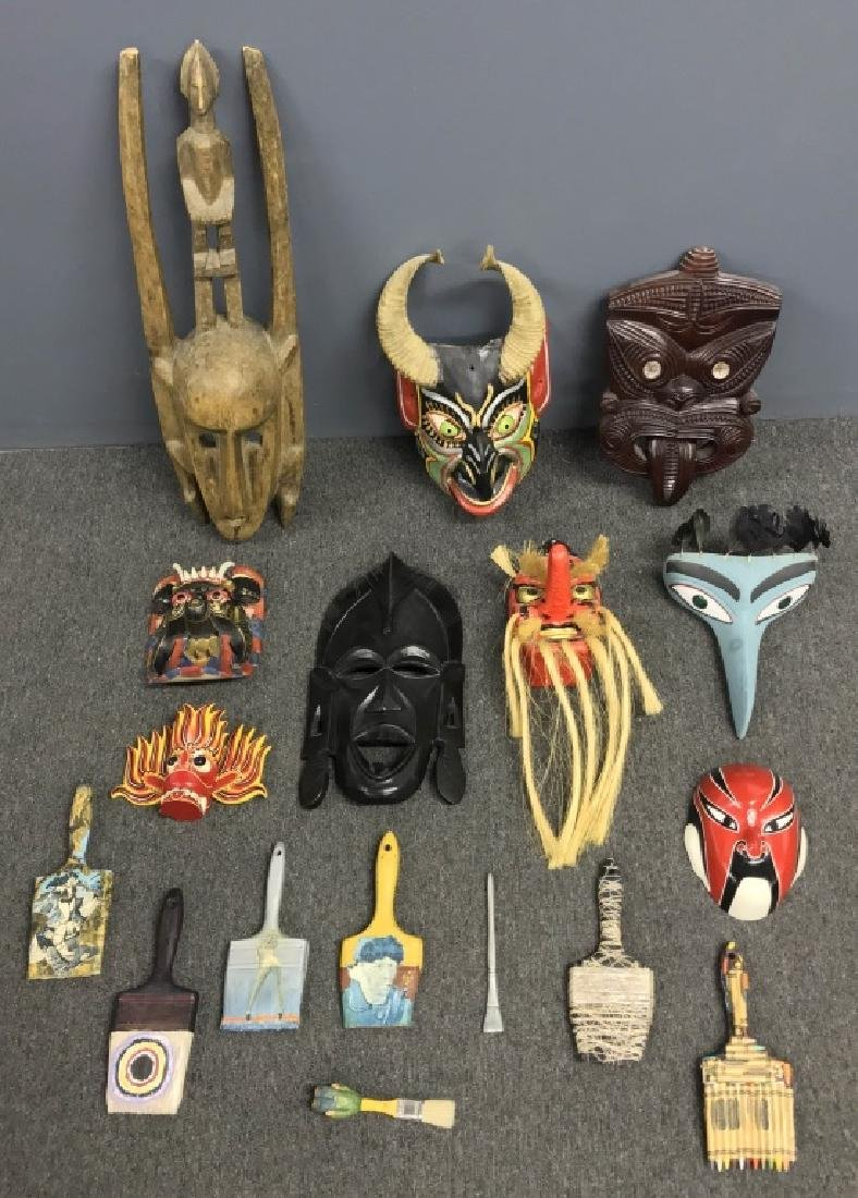 African, Asian, & South American Carved Masks, Etc