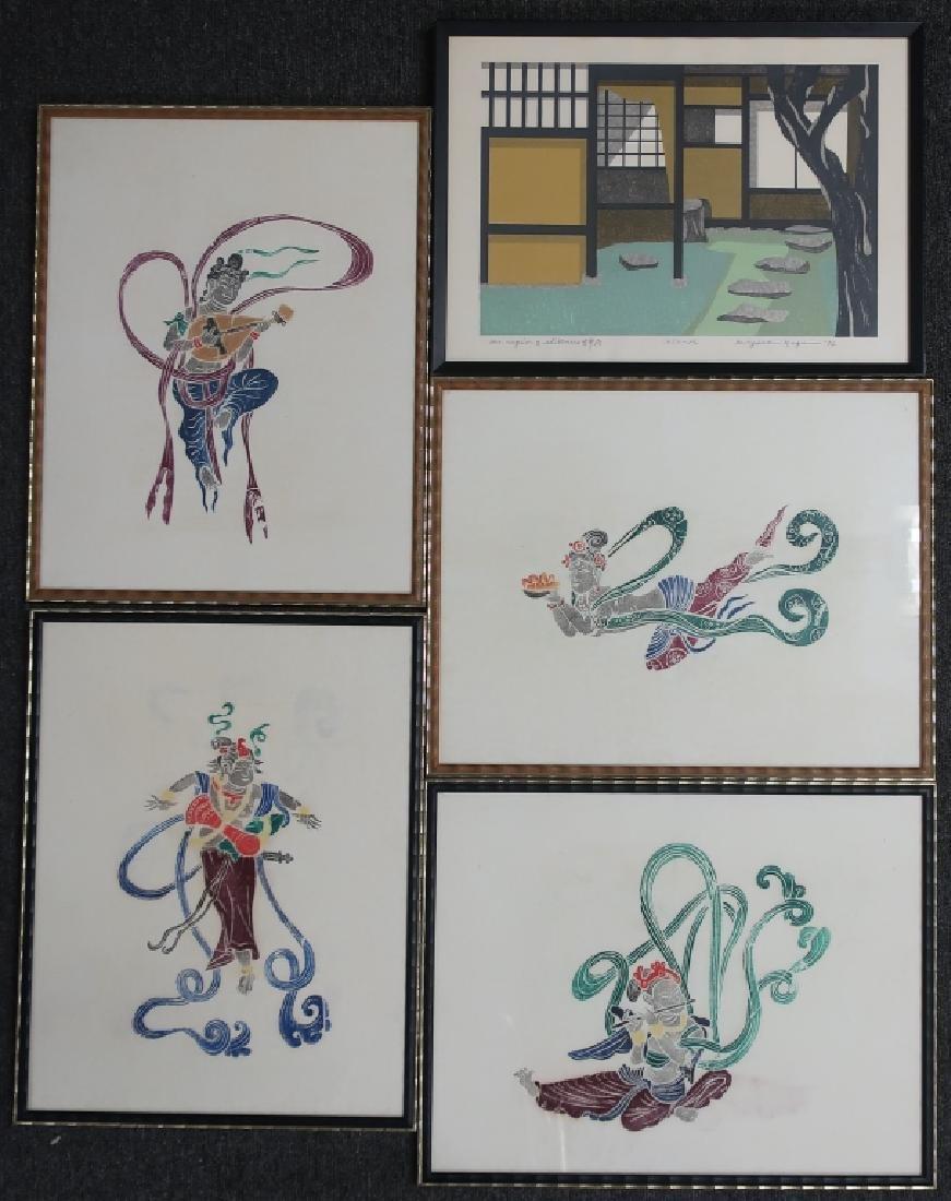Kiyoshi Nagai Print & Four Asian Woodblock Prints