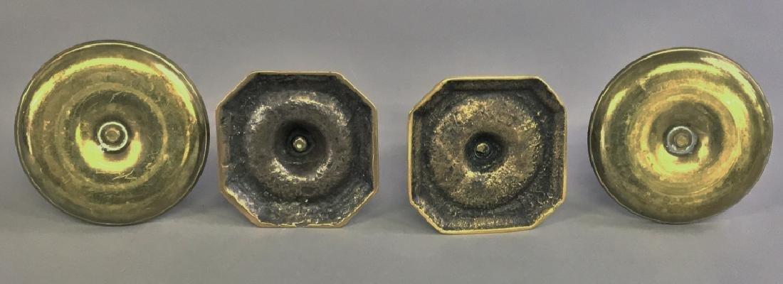 Pair of Continental Brass Candlesticks - 2