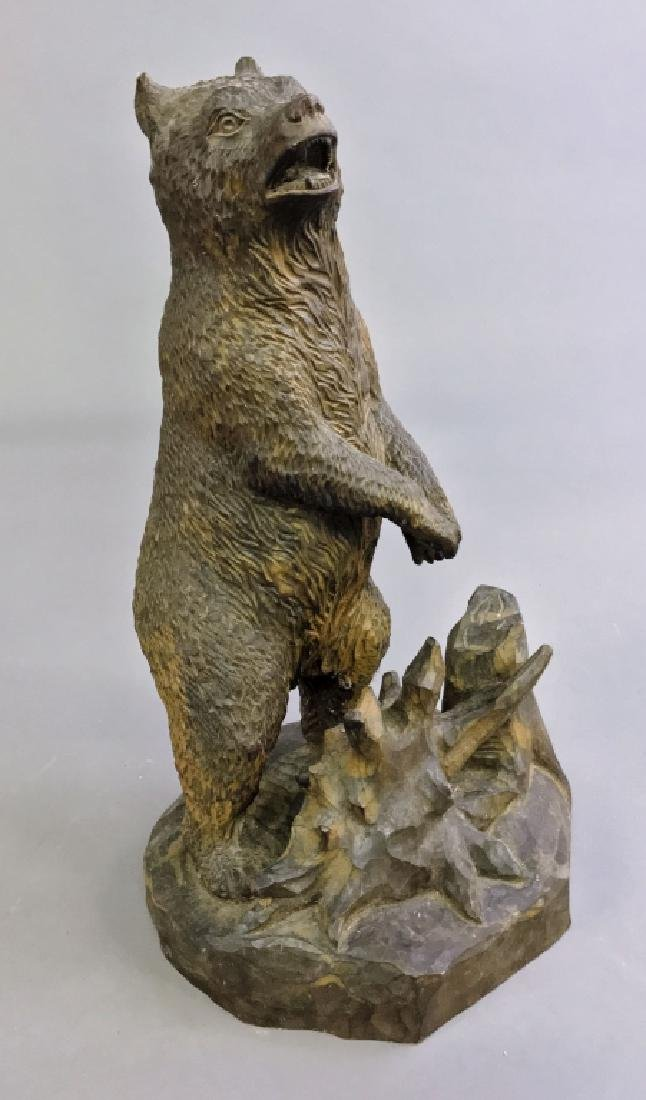 Carved Black Forest Standing Bear - 2