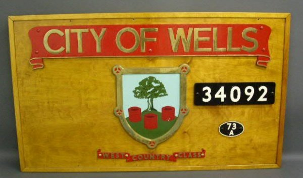 "1: Railroad sign board- ""City of Wells…"" 43""h.x73"""
