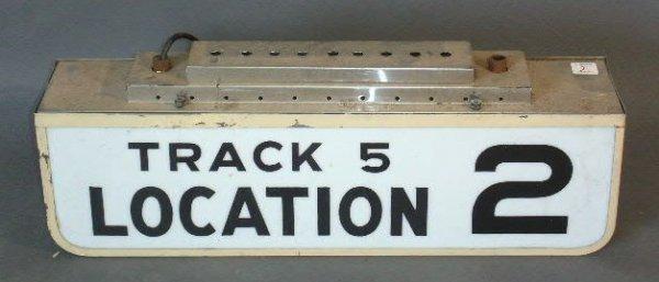 """2: Railroad track sign- """"Track 5 Location 2"""", c.1960. 1"""