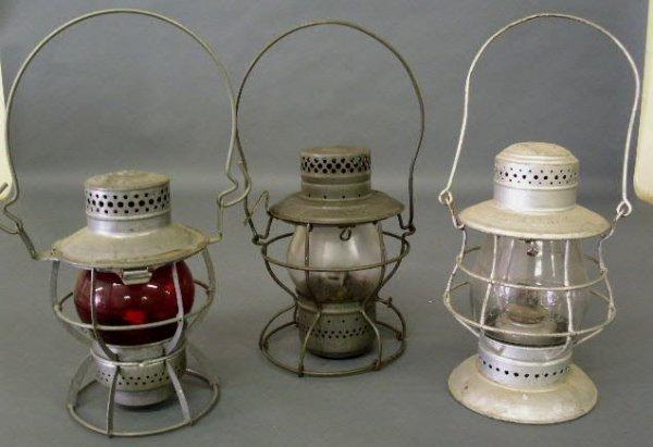 5: Three railroad lanterns- Dressel frame marked PRR Ar