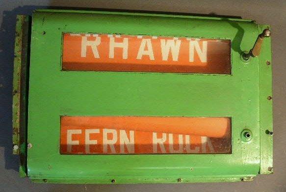 "6: Rail station destination roll sign. 18""h.x24""w.x8""d."